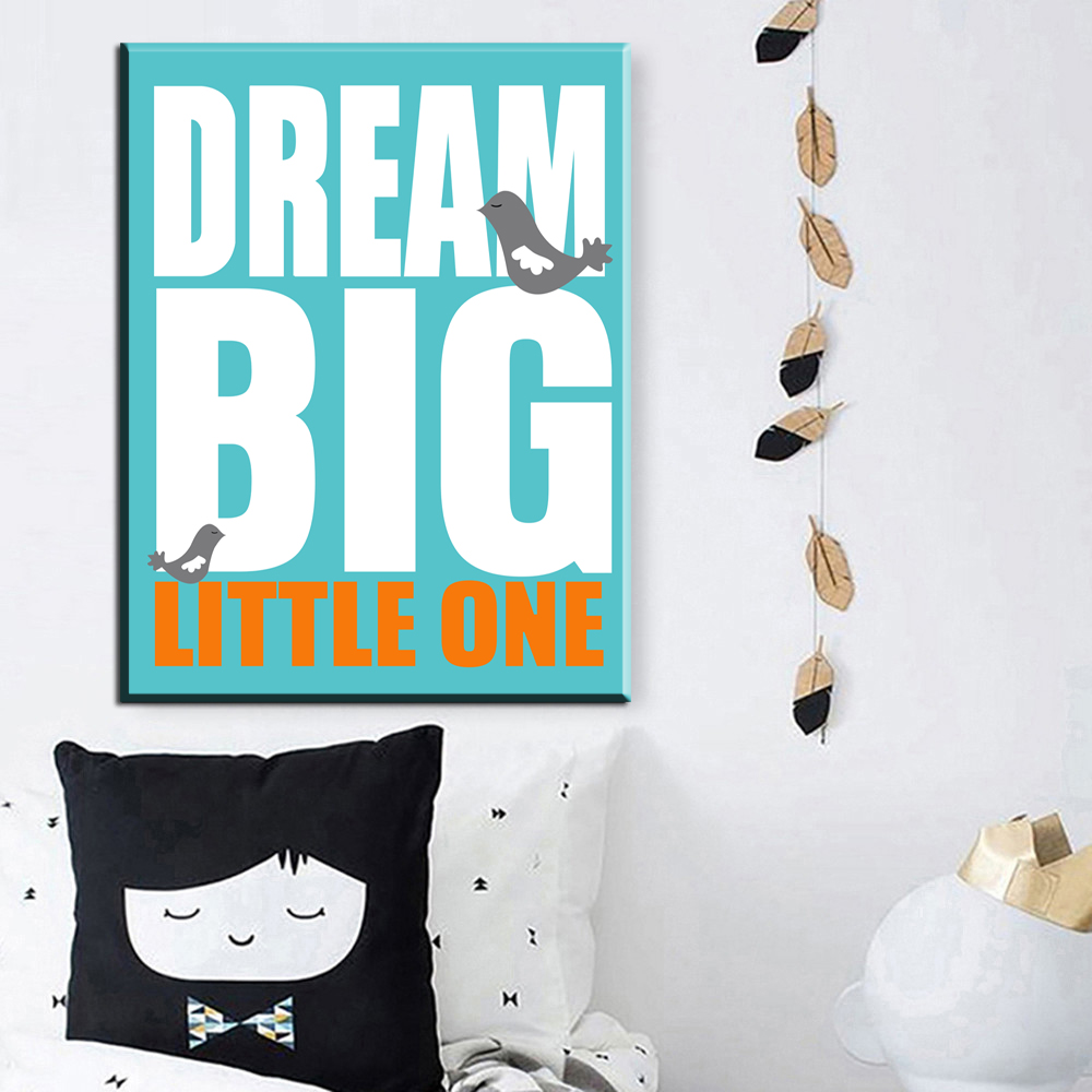 xdr480 Modern Nordic Black White Dream Big Quotes Canvas Painting Abstract Art Print Children Kids Posters Wall Picture For Living Room
