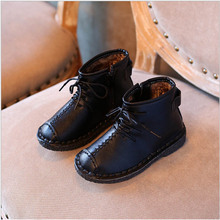 2017 autumn winter new fashion pu leather children baby boys kids shoes korean thick warm fur girls boots in stock K7