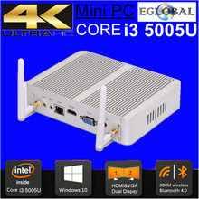Eglobal Windows 10 Mini Pc Intel i3 Mini Pc Core i3 5005u Haswell 8G RAM 32GB SSD Silver Aluminum Case HDMI HD RJ45 Lan Htpc