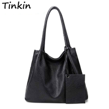 Tinkin New Arrival Autumn Women Shoulder Bags Casual Messenger Bag Black And Brown Totes Large Than A4 Paper