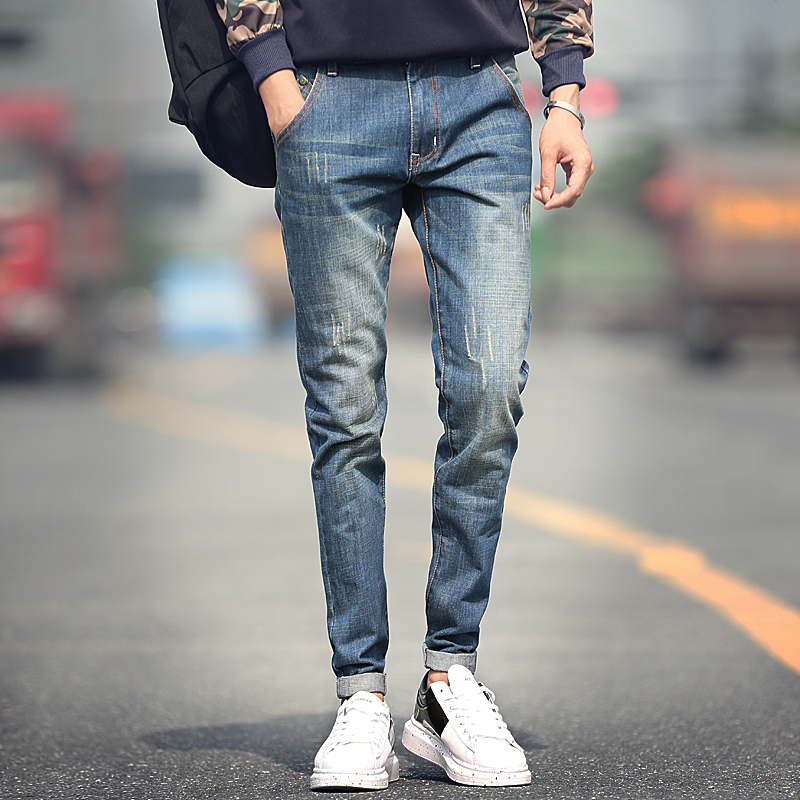 New designer straight jeans men fashion men jeans classical scratched slim jeans men  high quality plus size 36 38Одежда и ак�е��уары<br><br><br>Aliexpress