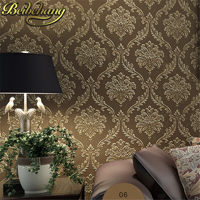 beibehang papel de parede European luxurious damask non-woven wallpaper 3D design effect living room bedroom decor<br>