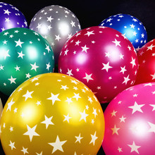 New Balls Ballons 100 pcs/lot Balloon Latex 12inch High Quality Printed Gold Balloon star Wedding party decorations(China)