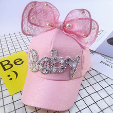 Lace Big Bow Children Baseball Cap Letter BABY Pearl Outdoor Sun Hat Lovely Kids Girls Adjustable Cotton Caps(China)