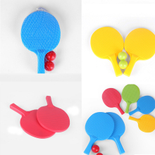 1Pair Kids Outdoor Sports Play Game Toy Kids Table Tennis Rackets Toy Plastic Ping-pong Racket With 2 Ball Toys(China)