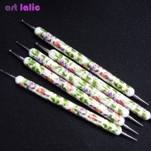 High Quality Flower Prints 5 Pcs 2 Way Dotting Tools Set Spot Swirl Marbleizing Drawing Polish Dotter Pen Nail Art