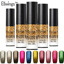 Ellwings 1pc Glitter Platinum UV Nail Gel Polish Soak Off  Platinum Gel Varnish Long Lasting Nail Gel Lacquer 12 Colors
