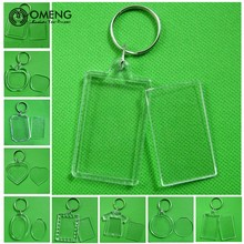 OMENG  Rectangle Transparent Blank Acrylic Insert Photo Picture Frame Keyring Keychain DIY Split Ring Key Chain Gift