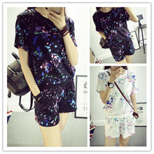 factory outlets! classical2015 fashion Women paint point printing T-shirt + lace shorts suit .casual calssical fashion ladies(China)