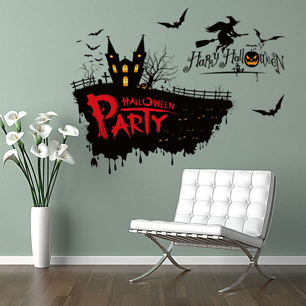 Vinyl Removable 3D Wall Sticker Halloween Horror Witch Decor Decals For Wall Decal Wall Stickers Living Room Home decor Poster(China)