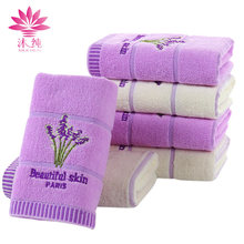 muchun Brand 2pcs/lot Soft 100% Nature Cotton Lavender Jacquard Weave Square Hand Hair Towel Luxury Purple/Beige Face Towel(China)
