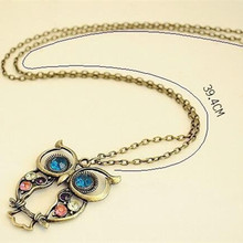 New Vintage Retro Hollow Owl Necklace Rhinestone Jewelry Animal Pendent 4ND86(China)