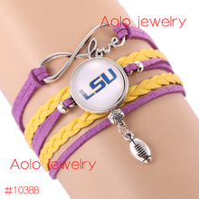 6Pcs/Lot NCAAF LSU Tigers Glass Cabochons Bracelet College Football Team Bracelet New Infinity Charm Bracelet Drop Shipping!