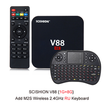 Hot Sale SCISHION V88 Android 5.1 4K TV Box RK3229 PK Amlogic S905X Mali-400 1GRAM G eMMC H.265 WiFi Set Top Box 3D Media Player