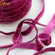 "12 rolls DHL Free shipping 50yards/roll 3/8"" Frosted Glitter Velvet Ribbon Stretch Elastic For Headband Hair Accessories"