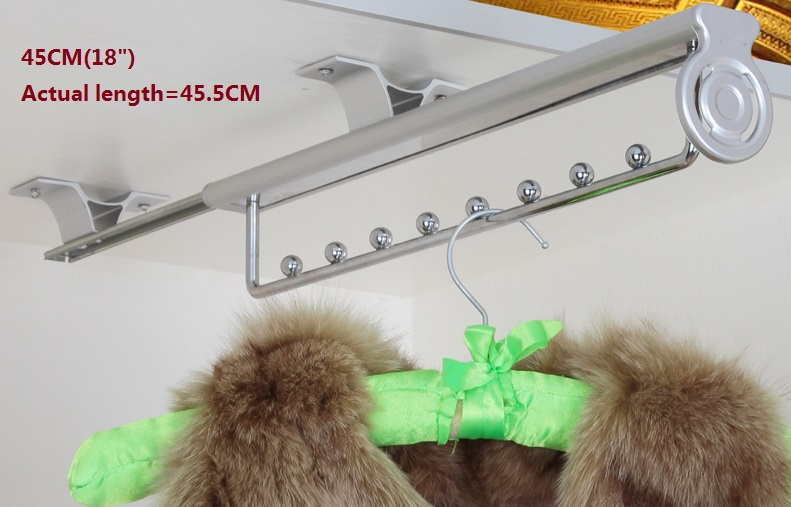 Premintehdw 45cm 18 Top-mounted Pull-out  Hanger Hanging rail  Closet Wardrobe<br>