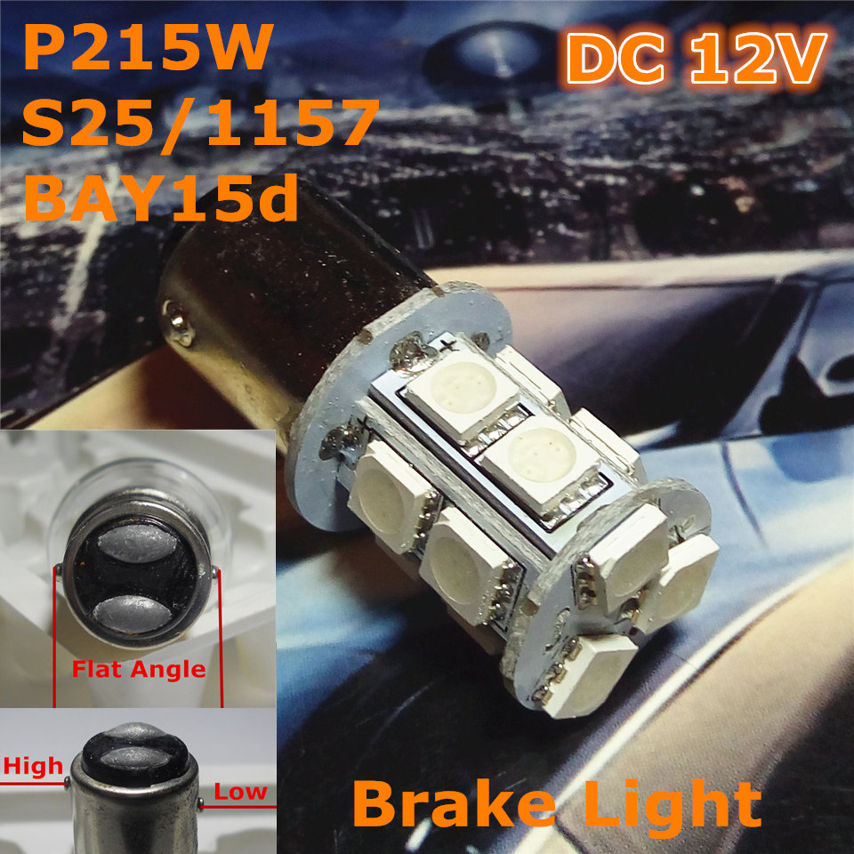 Stock Shipping New 12V LED Car Lamp P21/5W S25/1157 BAY15d High/Low Flat Angle Double Pad(13*5050SMD)For Brake Light<br><br>Aliexpress