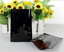 12*18cm black Food Storage Mylar Vacuum Pouches Flat Heat Seal Party Packaging Coffee Packing(China)