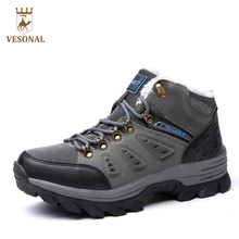 VESONAL Brand Winter Fur Warm Snow Boots Men Shoes Male Adult Couples Casual Ankle Rubber Non Slip Lovers Boot Big Size 45 46 47