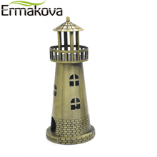 ERMAKOVA Metal Lighthouse Figurine Beacon Statue Pharos Model Beacon Lighthouse Tower Famous Building Model Home Office Decor(China)
