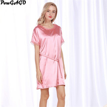 Fashion Elegant Nightgowns Solid Color Sleeping Dress Lace Breathable Sexy Silk Nighties(China)