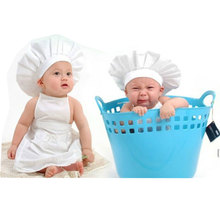 2018 Chef Style Props Newborn Baby Muts Cotton Material Hat+Cloth 2PCS/Set Baby Photo Props Cute Unisex Baby Costume Photography(China)