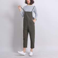 Ankle-Length Women Loose Suspender Trousers Solid Color Casual High Waist Overalls Autumn Summer Jumpsuits Female Long Pants(China)