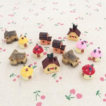 10 Pieces Kawaii 3D Resin House Fairy Garden Miniatures Terrarium Decoration Figurines Accessories Ornaments DIY Craft 17-26mm(China)