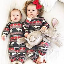 Christmas Family Pajamas Kids Baby Infant Romper Deer Sleepwear Nightwear Children Xmas Rompers(China)