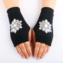 new Fashion Winter Spring Arm Warmer Fingerless Gloves, Knitted Gloves Half Finger woman's rhinestone gloves Crystal Computer(China)