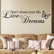 DCTOP Live Your Dreams Wall Stickers Butterflies Living Room Background Home Decor Vinyl Removable Wall Decal(China)