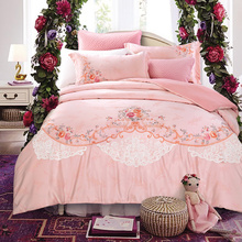 8color 80S Cotton Stain Thick Bedskirt Embroidered Bedding set 6Pcs King Queen size Wedding Luxury Duvet cover set Pillow shams