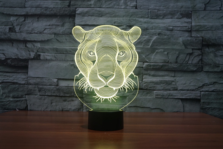 Lion Head 3D Glow LED Lamp Touch Switch Art Sculpture Lights Unique 7 Colors Lighting Effects and 3D Awesome Gift (5)