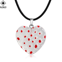 KINS 2017 New Special Offer Cute Love Heart Strawberry Flower Shape Glazed Glass Pendant Necklace DIY Jewelry 5 Color A00352