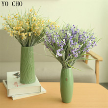 YO CHO New artificial flowers gerber grass wedding decoration bouquet spring lovely silk samll home decoration Photo fleurs(China)