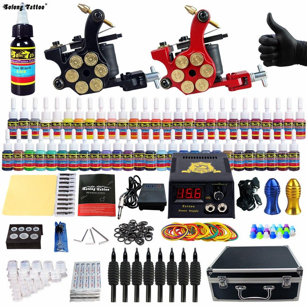 Solong Tattoo  Kit 2 Pro Machine Guns 54 Inks Set Taty Power Supply Needle Grips TK253-CN<br>