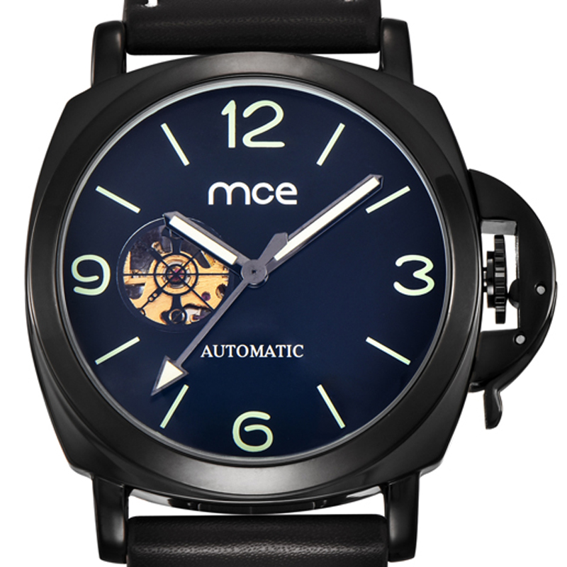 MCE fashion skeleton watches sapphire clock men casual automatic mechanical leather wrist watch with original box 338<br>