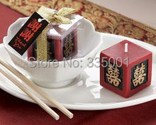 wedding decoration--Double Happiness Keepsake Candle Asian Wedding which is well sell wedding party favor 100pcs/lot