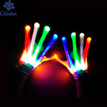 1Pair Unique LED Luminous Gloves Lighting Flashing Finger Glow Flash Colorful Skeleton Gloves Dancing Club Props Party Supplies(China)