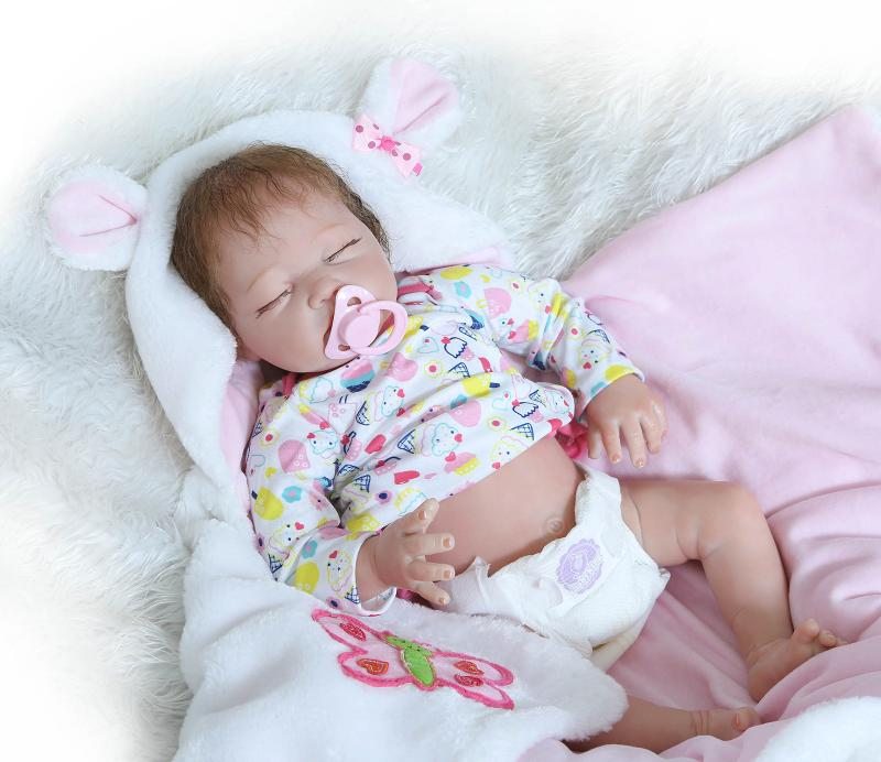 NPKCOLLECTION 55cm Half Body Silicone Reborn Baby Girl Dolls Toy Play House Lifelike Newborn Sleeping Babies bebe Reborn Doll(China (Mainland))