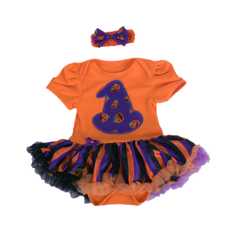 0~12M Halloween  Pumpkin Skull Lace Dresses Baby Girl Clothes Sets Costumes Bodysuits Outfits Jumpsuit Newborn Baby Clothes V49<br>