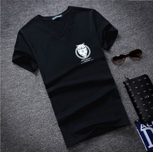 2016 Owl Print Men T Shirt Designer Deep V Neck T Shirts Boys Graphic Muscle Tee Tops Cotton Fabric Sexy Novelty Fashion Style