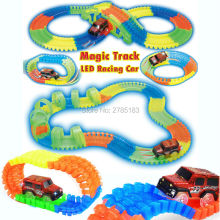 DIY assemble Flex Glow Magic Tracks Electric LED Light Up Race Car  Funny Bricks Railway Car Model Vehicles Educational Toys