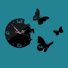 Frameless Three Butterfly Wall Clock Mirror Removable DIY Acrylic 3D Mirror Wall Decal Wall Sticker Decoration