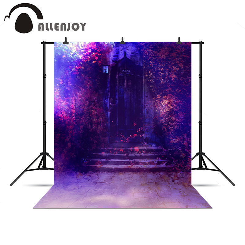 Allenjoy photographic background Purple door leaves mysterious wonderland Photophone photography background for a photo shoot<br><br>Aliexpress