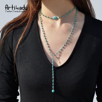 Artilady charme couche perles collier de mode turquoise pendentif collier femmes bijoux