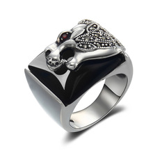 authentic 925 Sterling Silver Silver Natural Black Onyx Ring Finger men fashion ring width exaggeration atmosphere