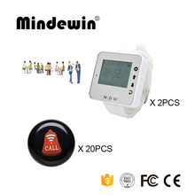 Mindewin Restaurant Wireless Service Calling System 20PCS Table Call Buttons M-K-1 + 2PCS Wrist Watch Pager M-W-1(China)