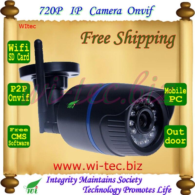 Support SD Card WIFI 720P IR Outdoor Bullet ONVIF Security Mini Night Vision P2P IP Cam IR Cut Filter 2MP Lens  <br><br>Aliexpress