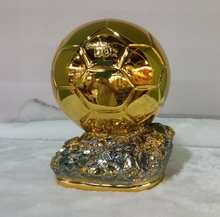 top quality 21cm Ballon D'OR Trophy for Sale Resin Best Player Awards Golden Ball Soccer Trophy Mr Football trophy(China)